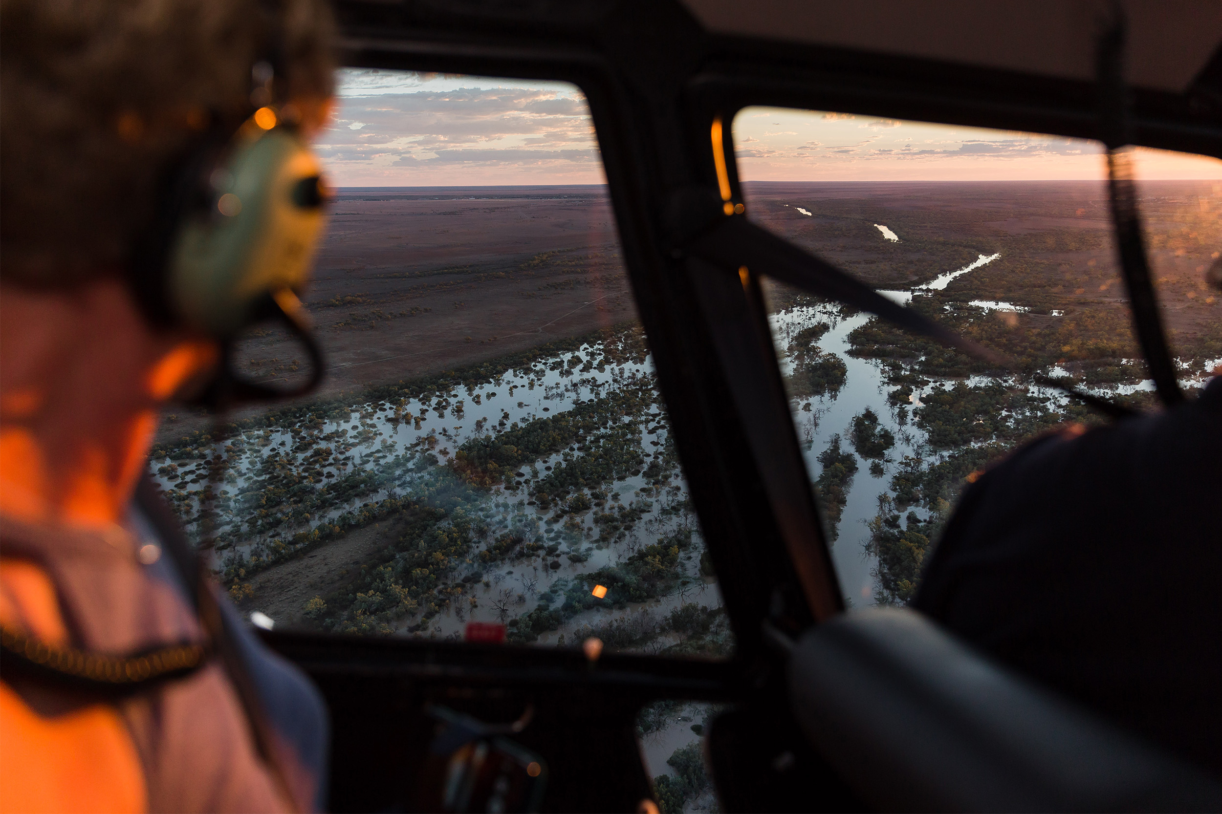 Queensland Helicopters - scenic flight - sunset flight