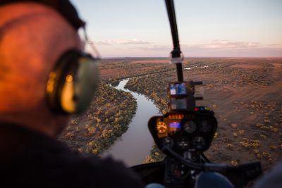 Queensland Helicopters - testimonials - in flight sunset